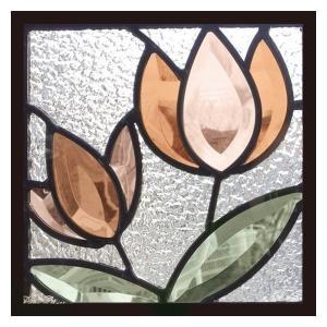 ステンドグラス 一部鏡面ガラス (SH-D38) 200×200×18mm デザイン 花 ピュアグラス Dサイズ (約1kg)  代引不可|1128