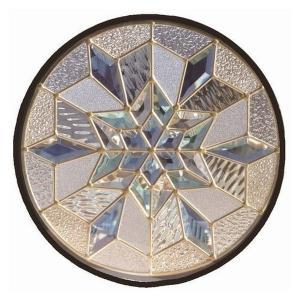 ステンドグラス (SH-K13) 400×400×18mm 円形 デザイン 雪 結晶 幾何学 ピュアグラス Kサイズ (約4kg)  代引不可|1128