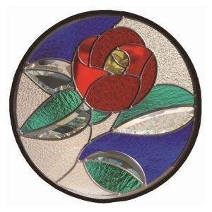 ステンドグラス 一部鏡面ガラス (SH-K14) 400×400×18mm 円形 花 椿 和柄 ピュアグラス Kサイズ (約4kg) ※代引不可|1128