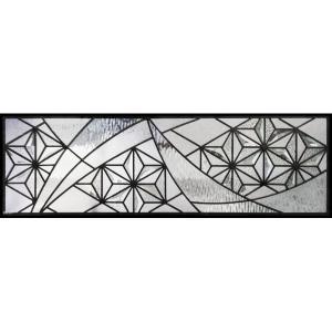 ステンドグラス (SH-C34) 927×289×18mm デザイン ピュアグラス Cサイズ (約8kg) 麻の葉 ※代引不可|1128