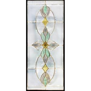 ステンドグラス (SH-K01N) 913×400×18mm デザイン ピュアグラス Kサイズ (約11kg) 一部鏡面ガラス ※代引不可|1128