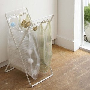 ゴミ箱 レジ袋 スタンド 『タワー』 ホワイト (6340) ダストボックス 折り畳み キッチン 収納|1128