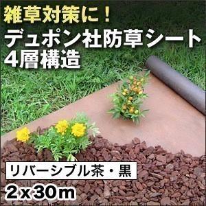 防草シート リバーシブル茶・黒 (2×30m) デュポン社 ザバーン 240 雑草防止シート|1128