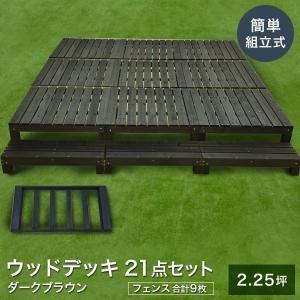 ウッドデッキ キット 木材 天然木 デッキセット 21点セット 2.25坪 ダークブラウン 0.75坪×3セット フェンス付き 簡単組立 (簡単デッキ)|1128