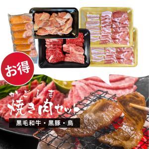 牛肉 肉 和牛 赤身肉 豚肉 国産 焼肉 かごしま焼き肉セット 鹿児島黒毛和牛(経産牛)&かごしま黒豚 1kg-セット価格|1129nikulabo