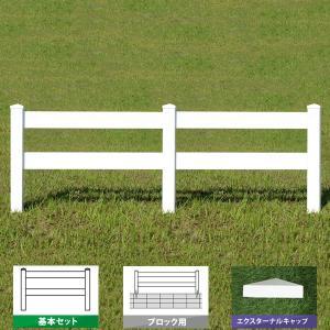 フェンス ホワイト バイナルフェンス アメリカン 樹脂 PVC 幅100cm 高さ105cm 基本セット ブロック用 2レールズランチ EXキャップ 2RR-E002|1147kodawaru