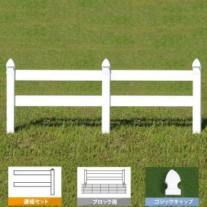 フェンス ホワイト バイナルフェンス アメリカン 樹脂 PVC 幅100cm 高さ105cm 連結セット ブロック用 2レールズランチ GSキャップ 2RR-G006/2RR-G007|1147kodawaru