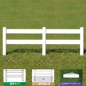 フェンス ホワイト バイナルフェンス アメリカン 樹脂 PVC 幅100cm 高さ105+(35)cm 基本セット 埋込用 2レールズランチ EXキャップ 2RR-E029|1147kodawaru