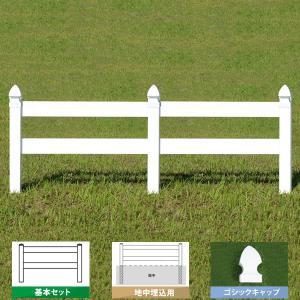 フェンス ホワイト バイナルフェンス アメリカン 樹脂 PVC 幅100cm 高さ105+(35)cm 基本セット 埋込用 2レールズランチ GSキャップ 2RR-G029|1147kodawaru