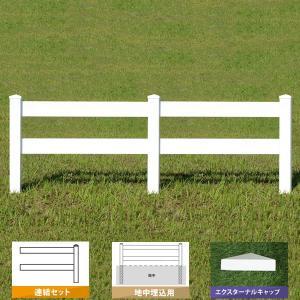フェンス ホワイト バイナルフェンス アメリカン 樹脂 PVC 幅100cm 高さ105+(35)cm 連結セット 埋込用 2レールズランチ EXキャップ 2RR-E033/2RR-E034|1147kodawaru