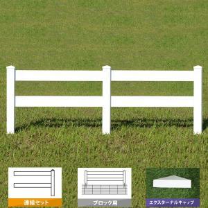 フェンス ホワイト バイナルフェンス アメリカン 樹脂 PVC 幅100cm 高さ120cm 連結セット ブロック用 2レールズランチ EXキャップ 2RR-E008/2RR-E009|1147kodawaru
