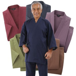 【欠品】作務衣 綿100% 男女兼用 選べる5色 上下セット 通年 作業着 ユニフォーム 41112-AR|1147kodawaru