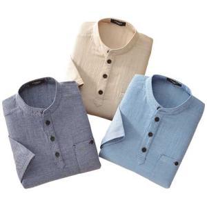 七分袖ダブルガーゼ プルオーバー3色セット シャツ メンズ 7分袖 春夏 953938 50代 60代|1147kodawaru
