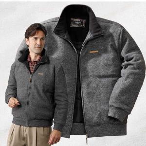杢調ブークレ中わたブルゾン ジップアップ 中綿入りジャケット メンズ 秋冬 957003 50代 60代|1147kodawaru