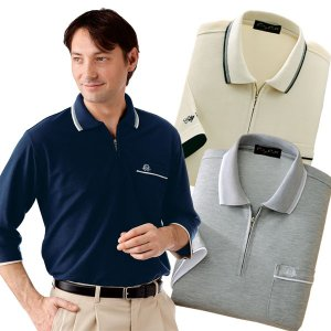 7分袖ジップポロシャツ3色組 ポロシャツ 七分袖 メンズ 春夏 957267 50代 60代|1147kodawaru