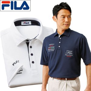 FILA ポロシャツ 半袖 2色組 メンズ ビッグ刺しゅう半袖ポロシャツ ゴルフウエア 左胸ポケット 春夏 50代 60代 957550|1147kodawaru