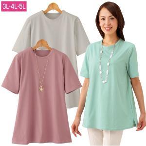 強撚綿100% サラッとTシャツ 3色組 レディース 吸湿 速乾 Tシャツ ゆったりシルエット 春夏 3L・4L・5Lサイズ 50代 60代 960271|1147kodawaru
