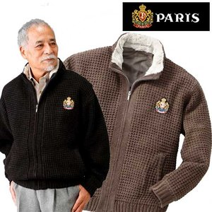 PARIS パリス 裏地付き柔らかニットジャケット メンズ ジャケット ニット アウター 秋冬  ACPR-2217-SAI 50代 60代|1147kodawaru