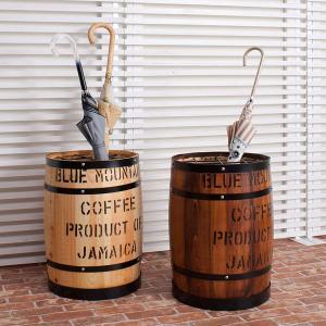 樽型収納 木樽 バレル 傘立て 直径31cm 高さ43.5cm コーヒー樽 アンティーク風 ヒノキ材 日本製 完成品 DT-0006NA/DT-0006BR|1147kodawaru