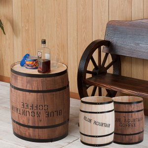 樽型収納 木樽 バレル 中サイズ 直径30cm 高さ43cm コーヒー樽 アンティーク風 ヒノキ材 日本製 完成品 DT-0003NA/DT-0003BR|1147kodawaru