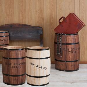 樽型収納 木樽 バレル 特大サイズ 直径42cm 高さ67cm コーヒー樽 アンティーク風 ヒノキ材 日本製 完成品 DT-0005NA/DT-0005BR|1147kodawaru
