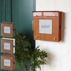 壁掛けポスト 郵便ポスト 郵便受け 壁掛け 鍵付 木目調 金属製 スチール製 アルファベットシール付 クレイン Clein 73-080/73-081/73-082-YA|1147kodawaru