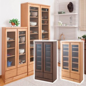 食器棚 開戸タイプ 幅60cm 薄型 奥行32cm カップボードロータイプ 高さ121cm 天然木パイン材 日本製 完成品 TE-0036kc/TE-0040kc|1147kodawaru