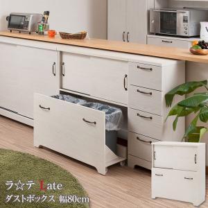 ダストボックス 2分別 ゴミ箱 キッチンカウンター キッチン収納 収納棚 幅80cm 北欧 フレンチカントリー Late ラテ ホワイト KT26-017WH-NS|1147kodawaru