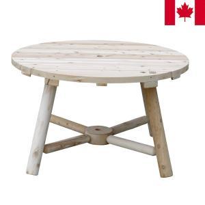 ラウンドパラソルテーブル パラソルテーブル 木製 幅120cm NO13A カナダ製 CEDAR LOOKS シダールックス カナディアンログファニチャー|1147kodawaru