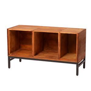 天然木製ボックスサイドテーブル ブリック ビンテージ調収納箱 レトロモダン 幅84cm ブラウン PR-ST840|1147kodawaru