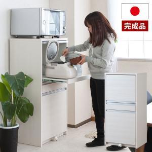 レンジ台 目隠し 家電収納 幅57.5cm 高さ118cm 炊飯器収納 スライド棚 ダストボックス付 26.5Lペール付 完成品 日本製 TE-0102|1147kodawaru