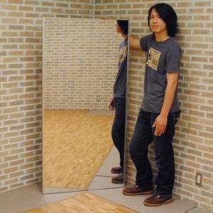 割れない鏡 フィルムミラー スタンドミラー 姿見 壁掛け 大型 リフェクス トール吊り式 幅85×高さ170cm 軽量 日本製 1147kodawaru
