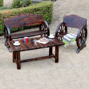 車輪ベンチ&焼杉テーブル 3点セット ベンチ大×1 ベンチ小×1 テーブル×1 幅110cm ヴィンテージ風ベンチ 杉松天然木 WBT1100-3PSET-DBR|1147kodawaru