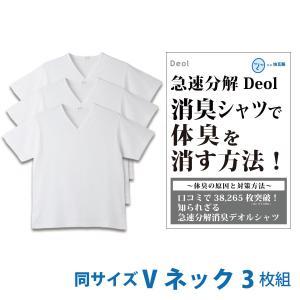 消臭シャツ デオルブイネック天竺Tシャツ(同サイズ3枚セット)デオル 加齢臭 体臭 消臭 汗臭 防臭 ケア 対策 臭い 臭わない あすつく|11kaigofuku