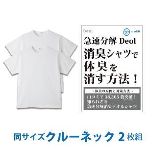 消臭シャツ デオルクルーネックTシャツ(同サイズ2枚セット)デオル 加齢臭 体臭 消臭 汗臭 防臭 腋臭 ワキ臭 ケア 対策 臭い 臭わない あすつく|11kaigofuku