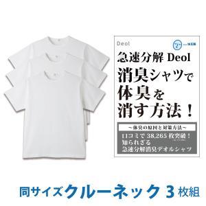 消臭シャツ デオルクルーネックTシャツ(同サイズ3枚セット)デオル 加齢臭 体臭 消臭 汗臭 防臭 腋臭 ワキ臭 ケア 対策 臭い 臭わない あすつく|11kaigofuku