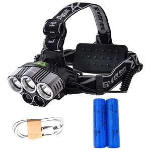 LEDヘッドライト ヘッドランプ 10000ルーメン超輝き度 18650型リチウムバッテリー 2本付属 お釣り キャンプ用|11oclock