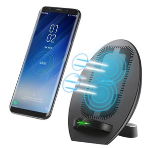 Qiワイヤレス充電器 急速充電 ワイヤレスチャージャー スタンド型 冷却ファン付き 横向きと縦向きコイル Galaxy S8Note 8iPhone88 PlusX等のQi対応|11oclock