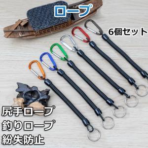 尻手ロープ 釣りロープ スパイラルコード 竿の落下防止 釣り用 Max伸長1.3M 混色6本セット|11oclock