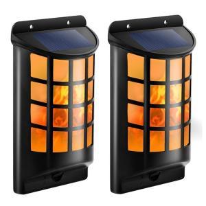 火炎 ソーラーライト 壁掛け式 玄関ライト IP65防水 夜間自動点灯 防犯・防災 アウトドアライト ウォールライト 太陽発電 省エネ 明るい 2個セット|11oclock