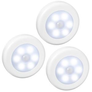 人感センサー ライト 電池式 LEDナイトライト 3Mテープ マグネットつけ ワイヤレス 小型 3個|11oclock