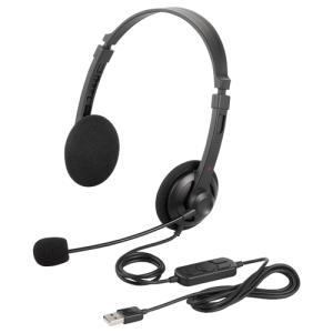 両耳ヘッドバンド式ヘッドセット USB接続 ブラック BSHSUH12BK|123mk