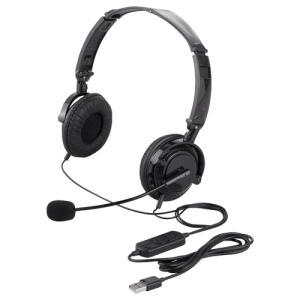 両耳ヘッドバンド式ヘッドセット USB接続/折りたたみタイプ ブラック BSHSUH13BK|123mk