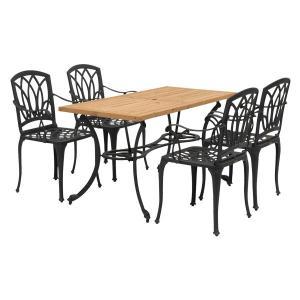 メーカー直送 アル・カウン ウッドダイニングテーブル 5点セット タカショー|171online-shop