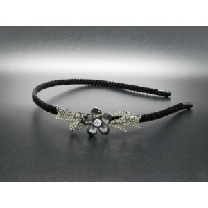 リボンにブラックカラーのストーンのお花カチューシャ|1885