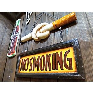 NO SMOKING 木製看板 喫煙具 看板-AK0074