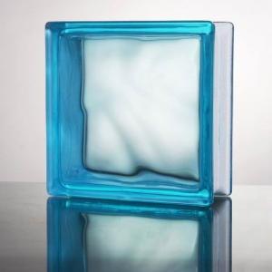 ガラスブロック 国際基準サイズ 世界で有名なブランド品 厚み80mm宝石ブルー色雲 gb5380の商品画像|ナビ