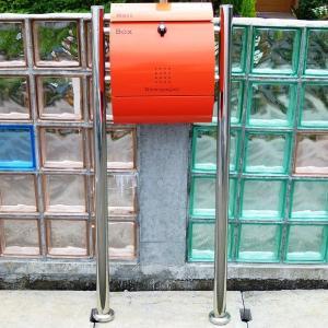 【送料無料】郵便ポスト 郵便受け 錆びない メールボックス スタンドタイプ オレンジ色 ステンレスポスト(orange)|1bankanwebshop