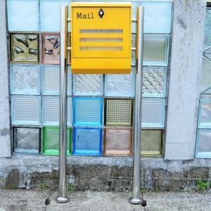 【送料無料】郵便ポスト 郵便受け 錆びない メールボックス スタンドタイプ イエロー黄色 ステンレスポスト(yellow)|1bankanwebshop