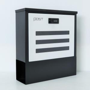 【送料無料】郵便ポスト郵便受けおしゃれかわいい人気北欧モダンデザイン大型メールボックス 壁掛けダイヤル鍵付きマグネット付きホワイト白色ポスト(white)|1bankanwebshop